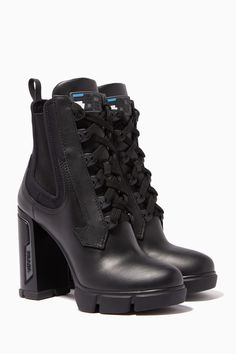 Shop Prada Black Neoprene Lace Up Chunky Heel Boots for Women Sock Shoes, Shoe Boots, Shoes Sandals, Buy Shoes, Me Too Shoes, Heel Boots For Women, Aesthetic Shoes, Chunky Boots, Prada Shoes