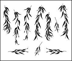 Willow Sheet stencil from The Stencil Library JAPAN range. Buy stencils online. Stencil code JA73.