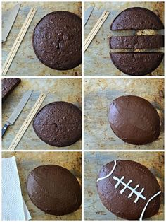 How to Make a Football Cake (Without Using a Specialty Pan) - SavvyMom How to Make a Football Cake (Without Using a Specialty Pan) - SavvyMom,Gâteaux d'anniversaire How to make a football cake without a speciality pan Bowl Party Food Football Desserts, Football Party Foods, Football Food, Football Birthday Cakes, Football Cake Decorations, Football Cakes For Boys, Superbowl Party Food Ideas, Football Helmet Cake, Football Themed Cakes