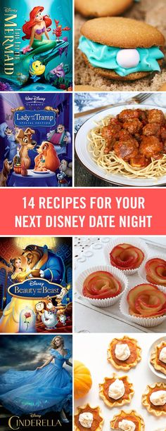 "Plan the perfect ""Bella Notte"" for the whole family with these Disney movies and fun recipes that match. From Lady and the Tramp's spaghetti and meatballs to a magic carpet pizza, these recipes are perfect for any Disney night. Disney Desserts, Disney Food Recipes, Disney Snacks, Comida Disney, Disney Inspired Food, Disney Themed Food, Disney Party Foods, Disney Dinner, Dinner And A Movie"