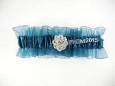 Teal Prom Garter w/Crystal Flower