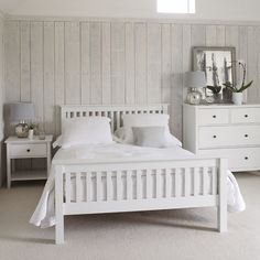 White wood bedroom set amazing white wood bedroom furniture with best white wooden bed ideas on White Bedroom Furniture, Bed Furniture, Home Bedroom, Bedroom Decor, Furniture Stores, Painted Furniture, Bedroom Headboards, Bedroom Table, Cheap Furniture