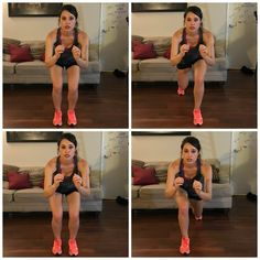 Directions: Get in a squat stance. Then, push one leg back, squat lower, pull it forward and squat lower again. Repeat for the other leg. I did 10 reps on each leg, three times.Focus Area: Upper thighs