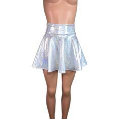 Holographic High Waisted Skater Skirt Clubwear, Rave Wear, Mini Circle... ($34) ❤ liked on Polyvore featuring skirts, mini skirts, stretch skirts, skater skirt, high-waist skirt, high waisted skirts and holographic skater skirt