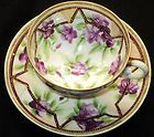 Nippon Japan JEWEL antique Purple DEMI  Tea cup and saucer Teacup