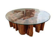 Mesa de Centro de madeira maciça feitas de tronco de árvore, tora, com design contemporâneo Rústico