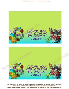 Favor Bag Toppers - Plants vs Zombies Theme- Party Printables. $6.00, via Etsy.