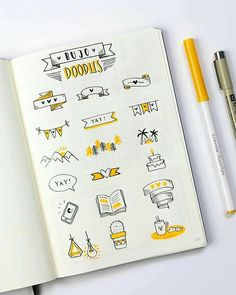 Cute bullet journal doodles by igdutchdots amazing bujo doodle ideas ideas for bullet journal flags frames icons and logos Bullet Journal Inspo, Bullet Journal Simple, Minimalist Bullet Journal, Bullet Journal Headers, Bullet Journal Aesthetic, Bullet Journal 2019, Bullet Journal Ideas Pages, Bullet Journal Spread, Dotted Bullet Journal