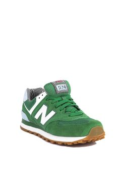 New Balance Picnic 574 Sneakers in Green with White and Blue Light | Womens Shoes | AKIRA