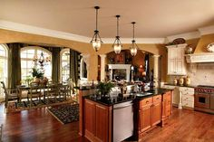 kitchen island with sink and dishwasher. angled around ...