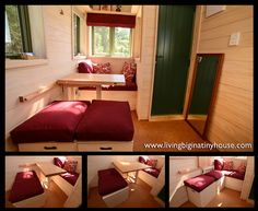 Inside an Ecovillage Tiny House Look at the space saving arrangement of seating and fold away table. Storage benches make it especially useful :)