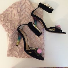 Host PickChristian Lacroix ankle strap heel Gorgeous and stylish heel. Worn under 5x in great condition. Made in Italy. Pretty rainbow topper and back heel.trade Christian lacroix Shoes Heels