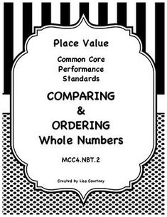 Included in this 13 page set is a whole class worksheet with an answer key that I find VERY useful. This worksheet is an excellent way to learn how best  set up numbers in order to compare them, using a place value chart.  A second student worksheet is included with an answer key so that students may practice what they have been learning about comparing and ordering.