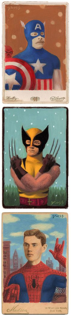 alex gross - superheroes (vintage portraits painted over with a whole bunch of pop culture)