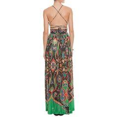 Vestido longo Farm plissado indiana