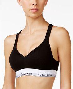 Calvin Klein Modern Medium-Impact Logo Sports Bralette - Black S Sports Bralette, Padded Bralette, Lace Bra, Tommy Hilfiger Women, Cotton Pads, Baby Clothes Shops, Trendy Plus Size, Lingerie Set, Pajama Set