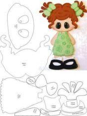 Paper piecing or appliqué idea ¥ Paper Piecing Patterns, Felt Patterns, Pattern Paper, Foam Crafts, Diy And Crafts, Crafts For Kids, Felt Dolls, Paper Dolls, Scrapbook Patterns