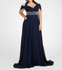 Dark Navy Plus Size Gowns Chiffon A Line Floor Length Off the Shoulder Halter Plus Size Special Occassion Dresses Prom Evening Party Gown