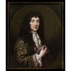 Oil painting - Portrait of a Young Man The present portrait depicts a gentleman wearing a banyan of rich brocaded silk lined with mauve silk, a lace cravat and lace cuff to match within a painted oval truncated at top, bottom and sides. The costume suggests a date around 1685 and was therefore painted in the very late period of Elle's career. Portrait paintings with sitter wearing a banyan were quite fashionable at the end of the 17th century.