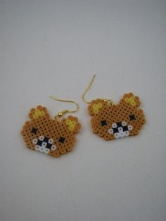 Handmade earrings / Hama beads / Perler beads / Bear by Yarisada