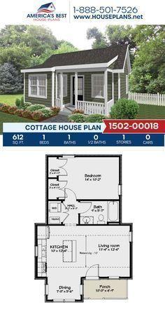 Guest House Plans, Small Cottage House Plans, Small Cottage Homes, Small House Floor Plans, Small Cottages, Tiny House Cabin, Dream House Plans, Tiny House Design, 1 Bedroom House Plans