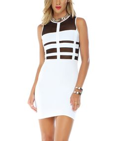 Another great find on #zulily! White & Black Lattice-Cutout Bodycon Dress by BLVD Collection #zulilyfinds