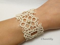 Tatted Lace wide Cuff Bracelet in cream Chantilly by SnappyTatter, $36.00