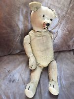 Vintage mohair old teddy bear long arms nose legs button eyes straw filled early