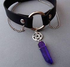 nu goth gothic pentagram choker ☾☾ OfStarsAndWine on etsy