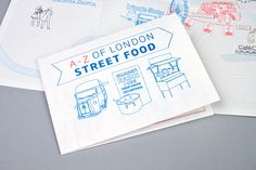 An A-Z illustrated map of London Streetfood we created with illustrator Kate Hyde for the London Issue of Boat Magazine. Food Map, City Maps, London Street, Creative Studio, Boat, Pure Products, Graphic Design, Illustration, Layout