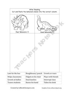 Dinosaur before/after Reading Activities