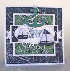 card nautical ship ships sailboat anchor sea IO sailboats Impression Obsessione die set card by Lisa Blastick using the Strong Anchor stamp set from Verve. #vervestamps