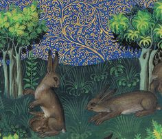 hare family Gaston Phoebus, Le Livre de la chasse, Paris ca. NY, Morgan, MS M. Medieval Life, Medieval Art, Renaissance Art, Medieval Books, Medieval Manuscript, Illuminated Manuscript, Illustrations, Illustration Art, Rabbit Art