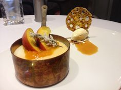 Budino...an Italian cream dessert with fresh seasonal fruit and olive oil ice cream at Trecento Quindici Decano