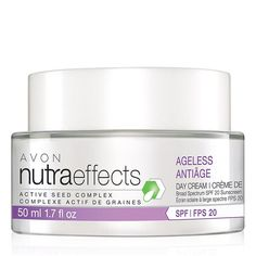 nutraeffects Ageless Day Cream Broad Spectrum SPF 20. Avon. NutraEffects Ageless Day Cream Broad Spectrum SPF 20 is a lightweight cream that helps reduce the appearance of lines and wrinkles for more youthful texture in just two weeks. Regularly $18. Shop online with FREE shipping with any $40 online Avon purchase.  #Avon  #C4 #CJTeam #Sale #NutraEffects #Ageless #SkinCare #DayCream #SPF Shop Avon Skin Care online @ www.TheCJTeam.com