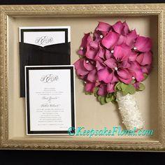 Gorgeous preserved calla lily bridal bouquet in a custom shadow box #floralpreservation #wedding #weddingflowers
