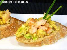Cocinando con Neus: Montadito de ajos tiernos y gambas