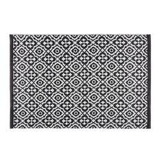 Tappeto da giardino con motivi neri e bianchi 140x200cm COROLIA