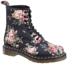 Floral Dr. Marten's...I feel lame for wanting these, but they're so cute! I'd wear with pink satin laces.