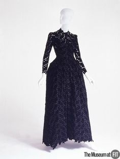 Cristobal Balenciaga, Evening dress, 1938. Black silk velvet meticulously rendered in a cutwork leaf pattern .
