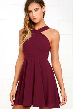 Lulus Exclusive! Our hearts will belong to the Forevermore Burgundy Skater Dress til the end of time! Semi-sheer shoulder straps form a modified halter neckline atop a fitted bodice with princess seams. A flirty skater skirt, composed of lightweight Georgette, flares below a banded waist. Hidden back zipper/clasp.