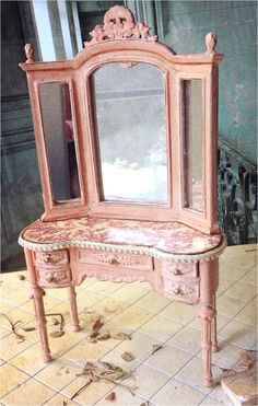 <3 <3 <3  Soft Pink & Raspberry Toile Vanity by MaritzaMiniatures on Etsy
