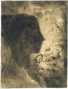 Odilon Redon - Profile of Shadow, c. 1895, Various charcoals, with stumping, incising, erasing, and subtractive brushwork, on pale-pink wove paper with red and blue fibers altered to a golden tone. | The Art Institute of Chicago