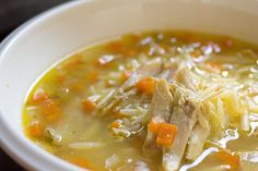 Recipe for chicken orzo soup, from my fave restaurant, Pastini. Mmmmmm....