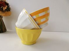 Mismatched Yellow Cafe au lait bowls, Large ceramic coffee bowls,  french country Sunny yellow white