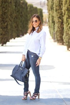 GiGi New York | Love Olia Fashion Blog | Navy Parker Satchel