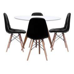 Foto 1 - Mesa de Jantar Square Redonda Branco Fosco 90cm + 4 Cadeiras Eiffel Botonê Preta