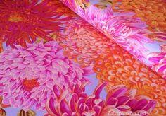 Pink and orange chrysanthemum fabric