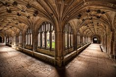 The Cloisters at Lacock Abbey, historic home of William Henry Fox Talbot.This was used as a film location for Hogwarts in the movie Harry Potter and the Chamber of Secrets.