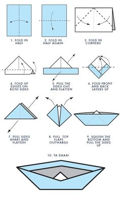 Learn How to make paper boat and Origami boat instruction. Making paper boat instruction step by step for kids. Paper boats for kids, make paper boats, learn to make paper boats Make A Paper Boat, Make A Boat, Build Your Own Boat, How To Make Paper, Paper Boat Folding, Diy Boat, Paper Boat Instructions, Paper Boat Origami, Origami Sailboat